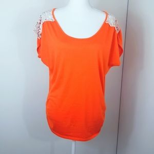 NAIF Top With Lace Sleeves. Orange. M